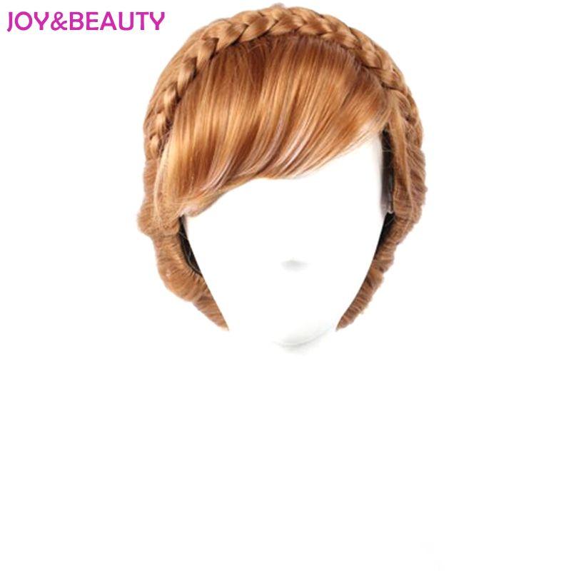Joie & beauté cheveux synthétiques mixtes marron et blanc Anna perruque enfants Cosplay perruque 12 pouces de Long livraison gratuite