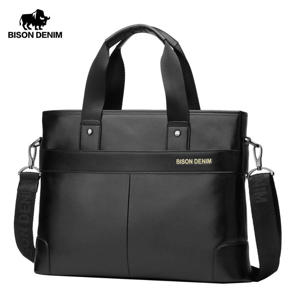 Bison Denim 100% Genuine Cowhide Leather 14'' Laptop Briefcase Men Messenger Bag Male Crossbody Shoulder Bags Briefcase N2195-1