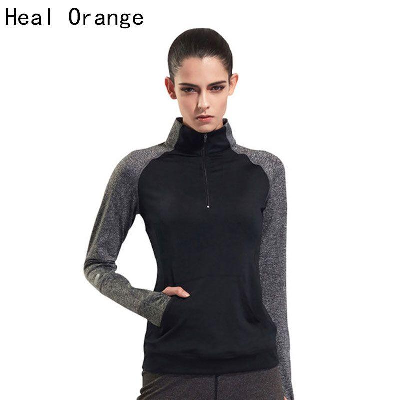 HEAL ORANGE Women Running Jacket Long-sleeved Stand Collar Sport Jackets Sweatshirt Cloth Fitness Zipper Outerwear Outdoor Coats