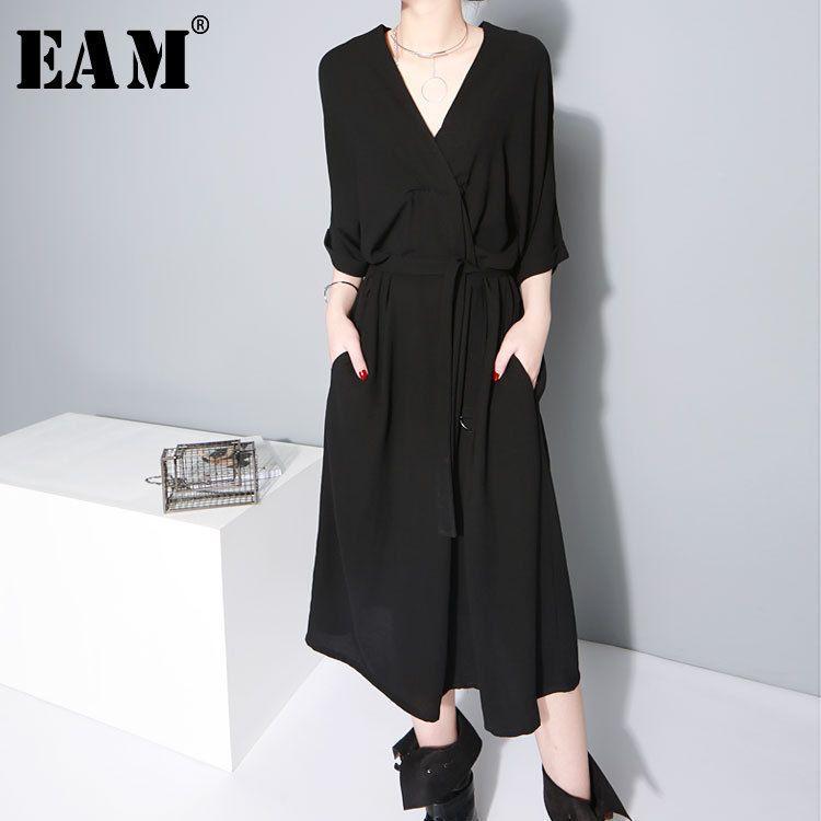 [EAM] 2018 New Summer V-collar Half Sleeve Black Bandgae Loose Temperament Loose Big Size Chiffon Dress Women Fashion Tide JF733