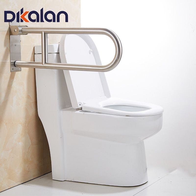 Dikalan Sliver Rotatable Toilet Safety Rails for Disabled Elderly Peopele 26X60cm 250KG Bathroom Handrail Stainless Steel Handle