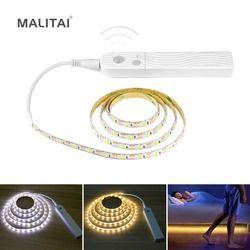 Flexible LED debajo de los gabinetes de cocina luz Sensor de movimiento dormitorio cama Lámpara 1 m 2 m 3 M USB LED cinta para armario escalera TV fondo