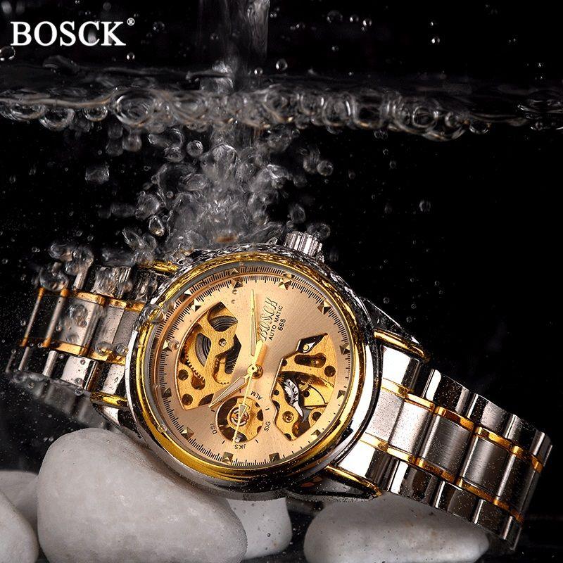 BOSCK Mechanical Watches Men Skeleton <font><b>Gold</b></font> Watch Automatic Mechanical Mens Watches Waterproof Self-winding Clock Stainless Steel