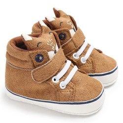 Invierno del bebé del otoño caliente Zapatos Kid Niños Niñas Fox Head Encaje paño de algodón primer caminante suaves antideslizantes zapatilla de deporte del niño