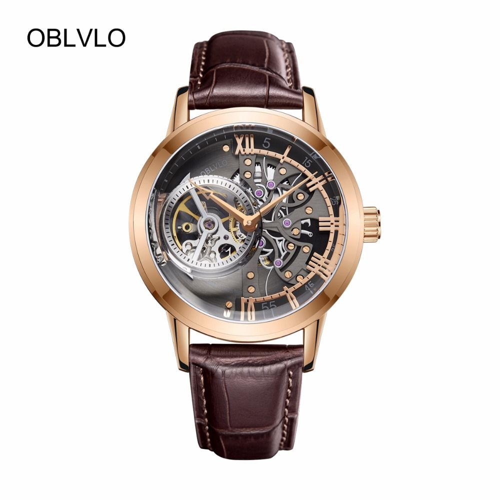 OBLVLO Fashion Casual Watches Analog Skeleton Watches Rose Gold Automatic Watches with Sapphire Crystal OBL8238