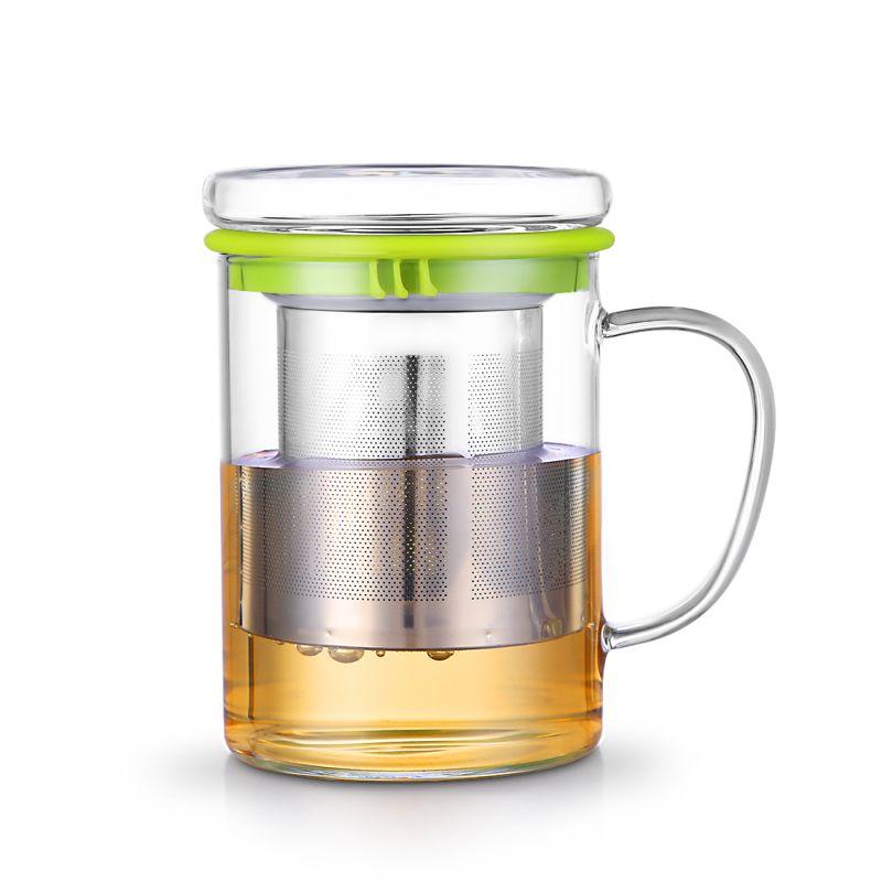 OneIsAll 400 ml tasse en verre Borosilicate verre tasse à thé tasse avec infuseur t et couvercle de caboteur, tasses en verre résistant à la chaleur tasses