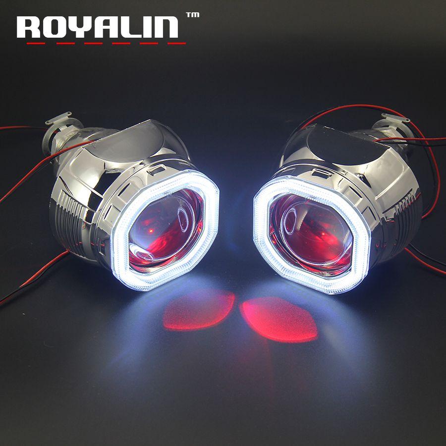 ROYALIN DRL carré phare Mini 2.5 projecteur lentille W2 Bi xénon H1 COB LED Octagonal carénages ange diable yeux H4 H7 voiture style