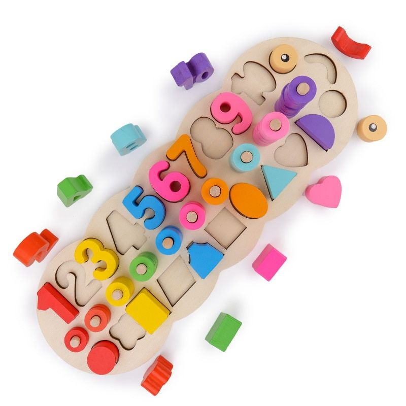 Wooden Montessori Materials Learning To Count Numbers Matching Digital Shape Match Early Education Teaching Math Toys Children