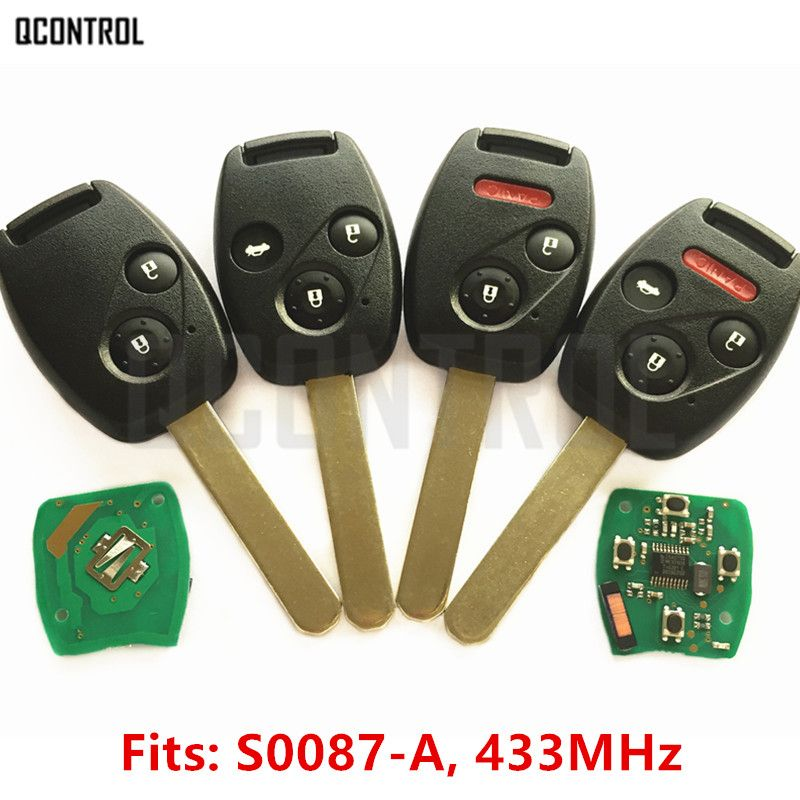 QCONTROL Remote Key for Honda S0087-A Accord Element Pilot Civic CR-V HR-V Fit Insight City Jazz Odyssey with ID46 Chip