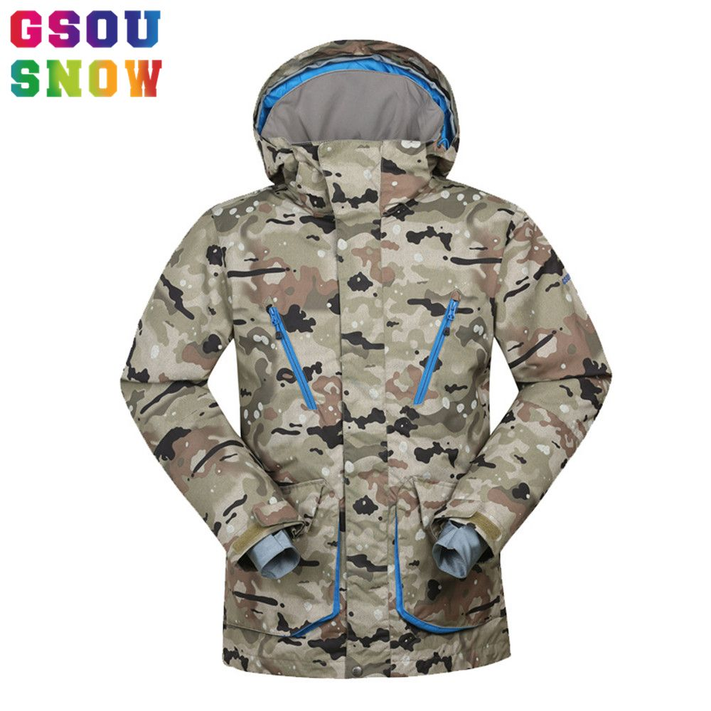 Gsou Snow -30 Degree Ski Jacket Men Winter Warmth Camo Snowboard Jacket Waterproof Windptoof Breathable Outdoor Men's Ski Jacket