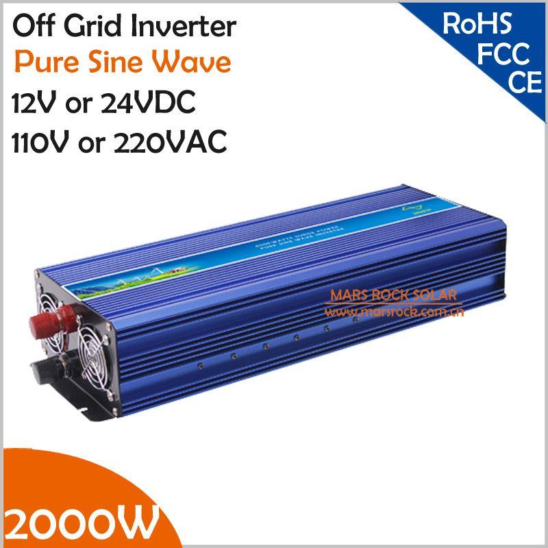 2000 Watt Netzferne Reine Sinus-wechselrichter, Spitzenleistung 4000 Watt 12 V/24VDC bis 110 V/220VAC Einphasig Solar oder Wind Wechselrichter