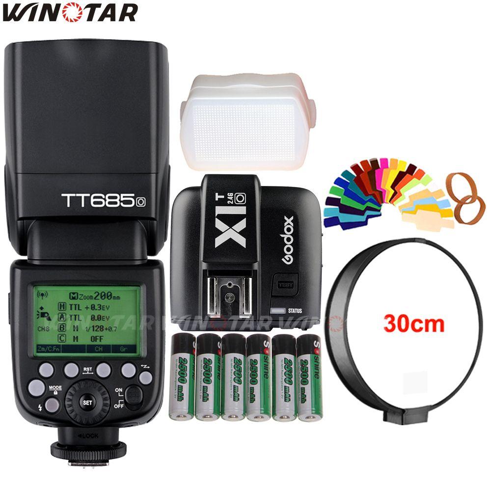 Godox TT685O 2.4G Wireless HSS 1/8000s TTL Flash Speedlite +X1T-O Trigger +6x 2500mAh Rechargeable Battery for Olympus/Panasonic