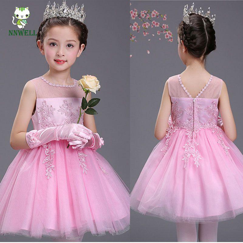 NNW 2017 Elengant sweet girls dress Summer new children princess dress Kids performance clothes Small children students dress