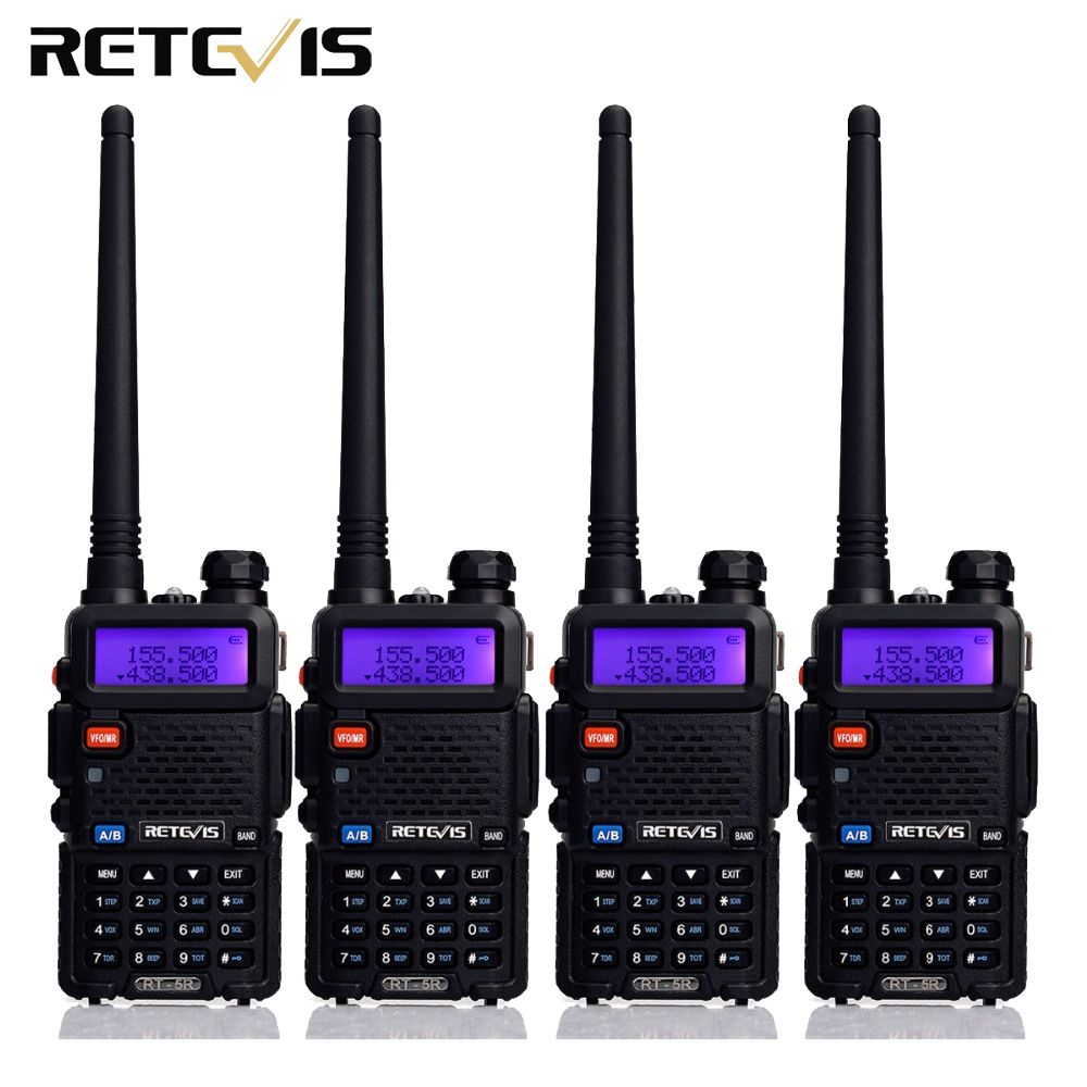 4 pcs Two Way Radio Walkie Talkie Retevis RT-5R RT5R 5W 128CH VHF UHF Dual Band FM Radio VOX Scan Portable Amateur Radio Station
