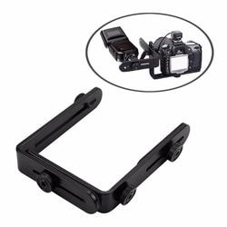 OOTDTY L-shaped Metal Double Dual Flash Bracket Holder Mount for Canon Speedlite&Camera