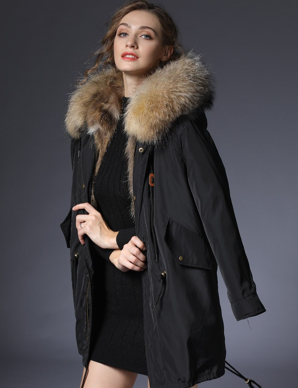 2018 parka woman winter jacket parkas women long real fur coat big raccoon fur collar hooded parkas thick outerwear stree style