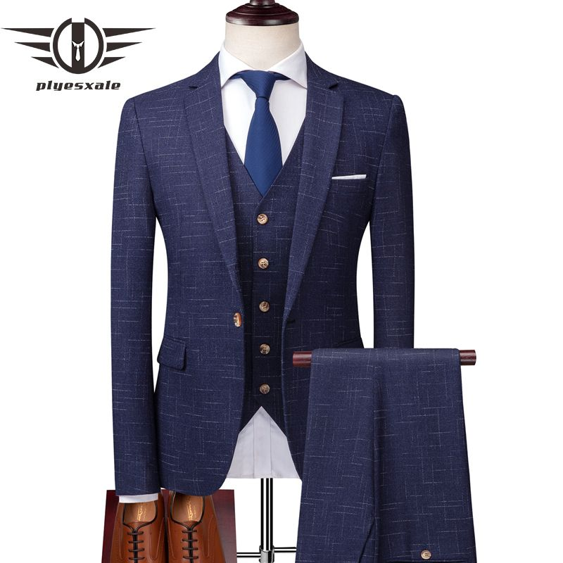 Plyesxale Marke Drei Stück Anzüge Männer Neueste Mode Anzüge Für Männer Slim Fit Mann Hochzeit Anzug Blau Grau Jacke Hosen weste Q184