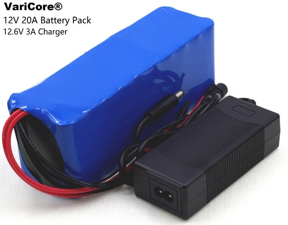12V 20AH 18650 lithium battery 60A Current xenon Lamp lithium battery high-capacity miner's lamp battery pack +12.6V 3A charger