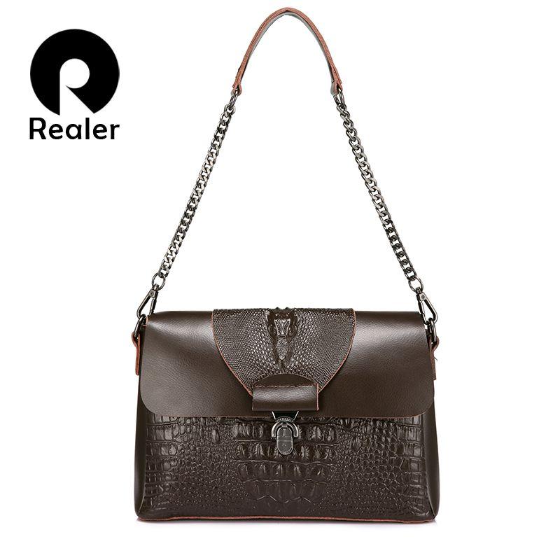 REALER women messenger bags split leather crossbody bag ladies handbags female crocodile print chain shoulder bag purse student