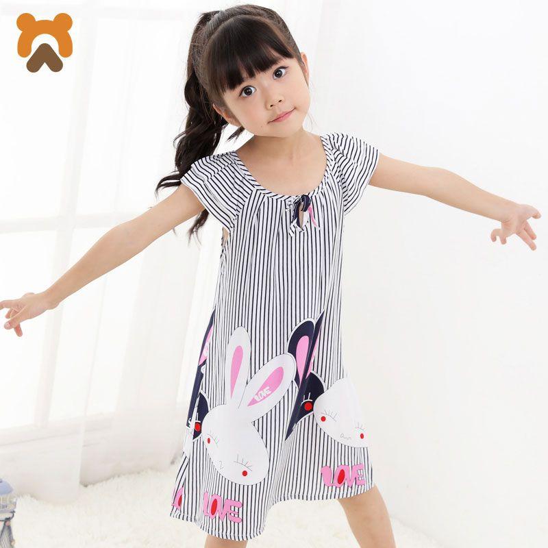 Girls Princess Nightgowns Summer Short Sleeve Striped Cartoon Nightdress Knitted Pajamas Sleepwear Children Kids Girl Nightgown