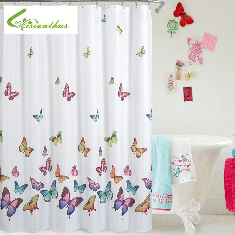 Papillon impression rideau de douche imperméable à l'eau résistant à la moisissure Polyester tissu salle de bains rideaux 180 cm * 180 cm 2019 nouvelle conception Simple