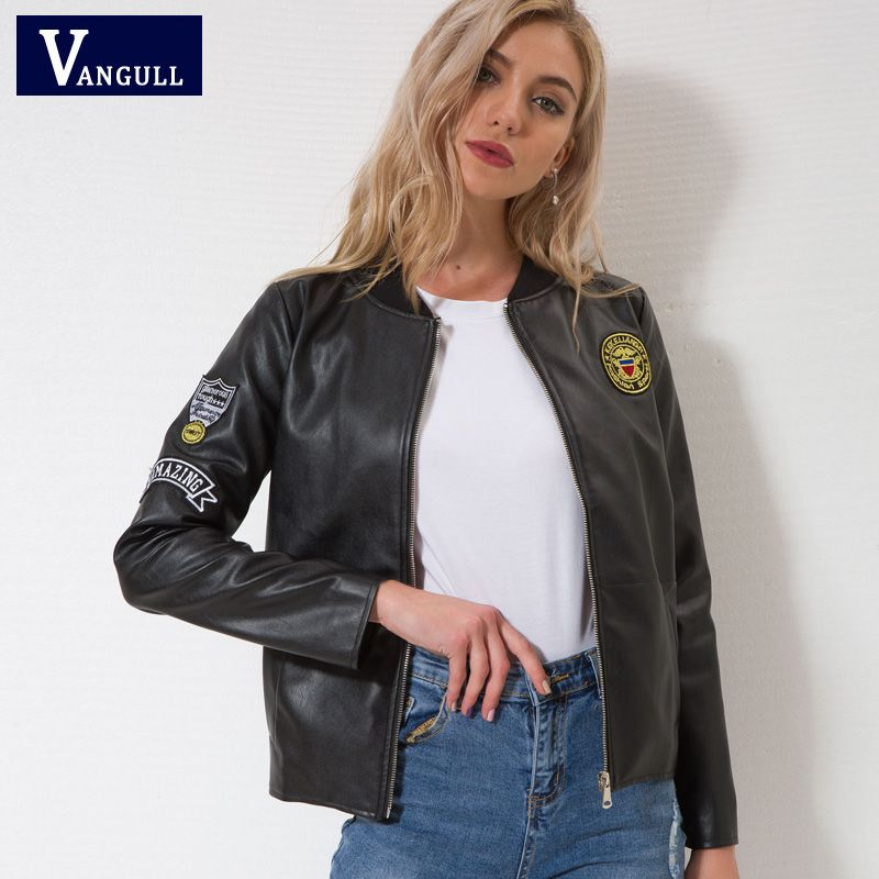 Vangull Leather jacket New women Autumn Winter Faux Leather Jackets Lady Brand design <font><b>Motorcycle</b></font> Style black Trench Female Coat