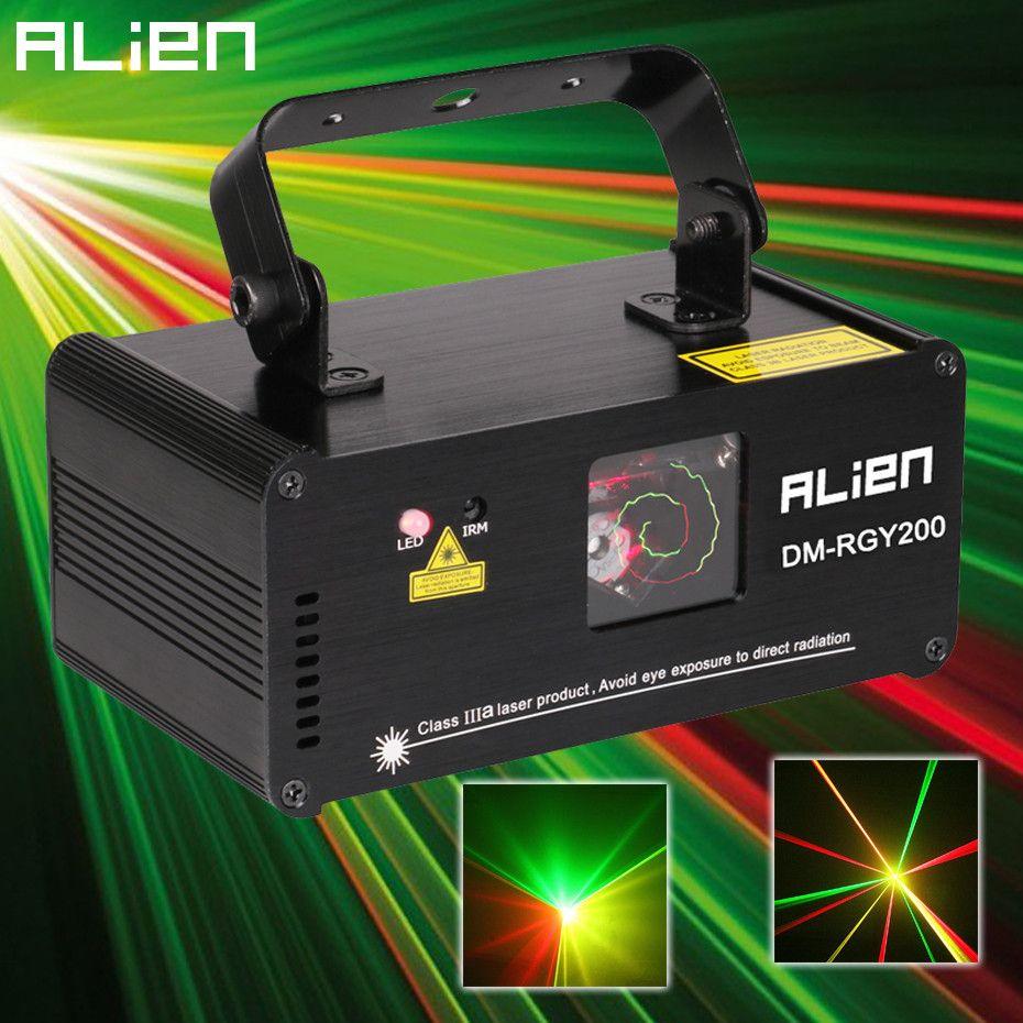 ALIEN Remote DMX512 200mW RGY Laser Stage Lighting Scanner Effect Dance DJ Disco Party Show Light Xmas Projector Lights