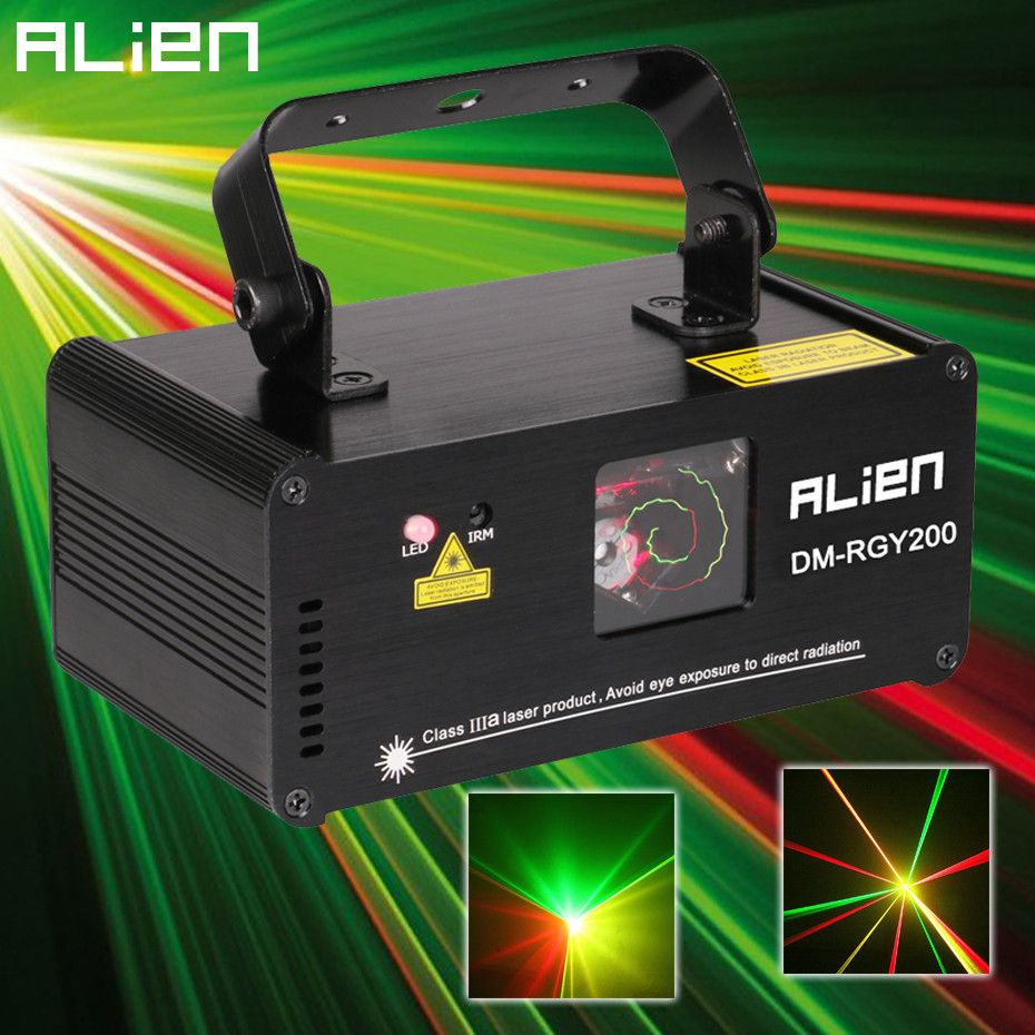 ALIEN Remote DMX512 200mW RGY Laser Stage Lighting Scanner Effect Dance DJ Disco Party Show Light Xmas Projector Lights