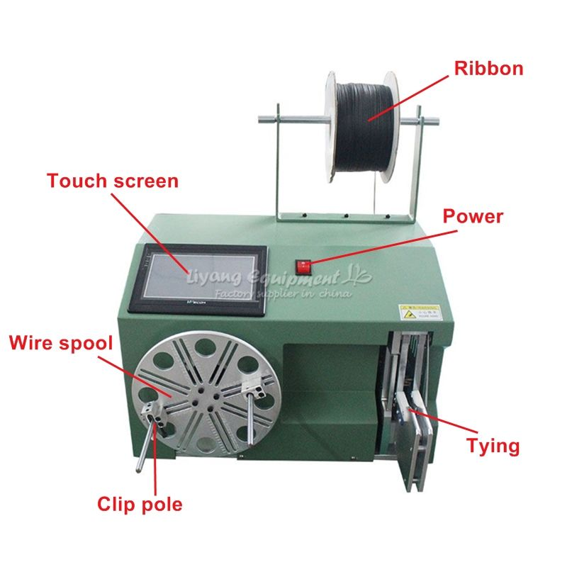 LY 5-30 small touch screen cable wire coil winding binding machine work with wire stripping machine