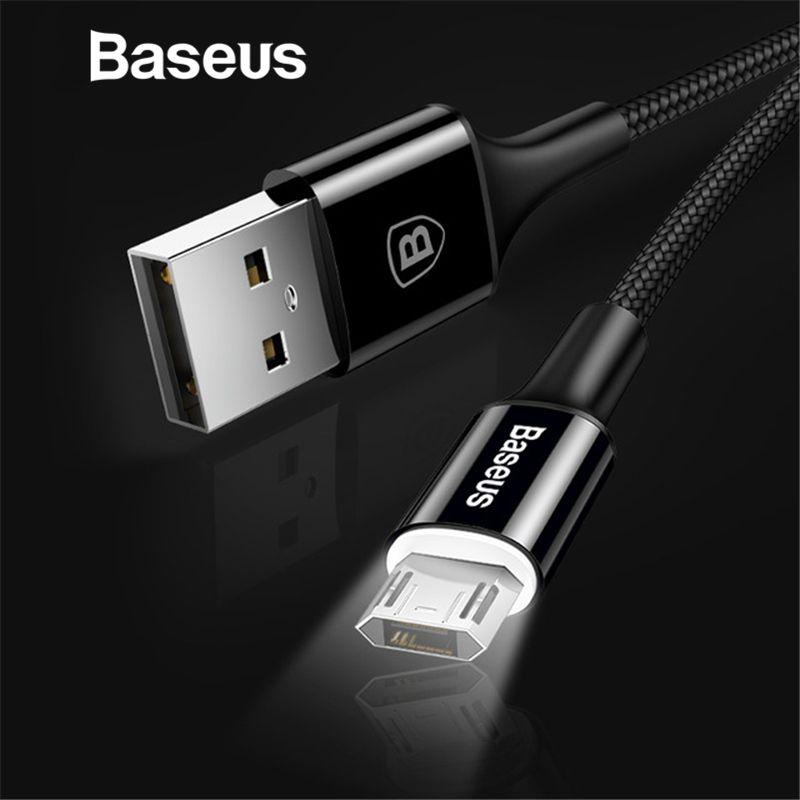 Baseus LED Beleuchtung Micro USB Kabel für Xiaomi Redmi 4X Hinweis 4 5 Reversible Micro USB Ladekabel für Samsung s7 Handy