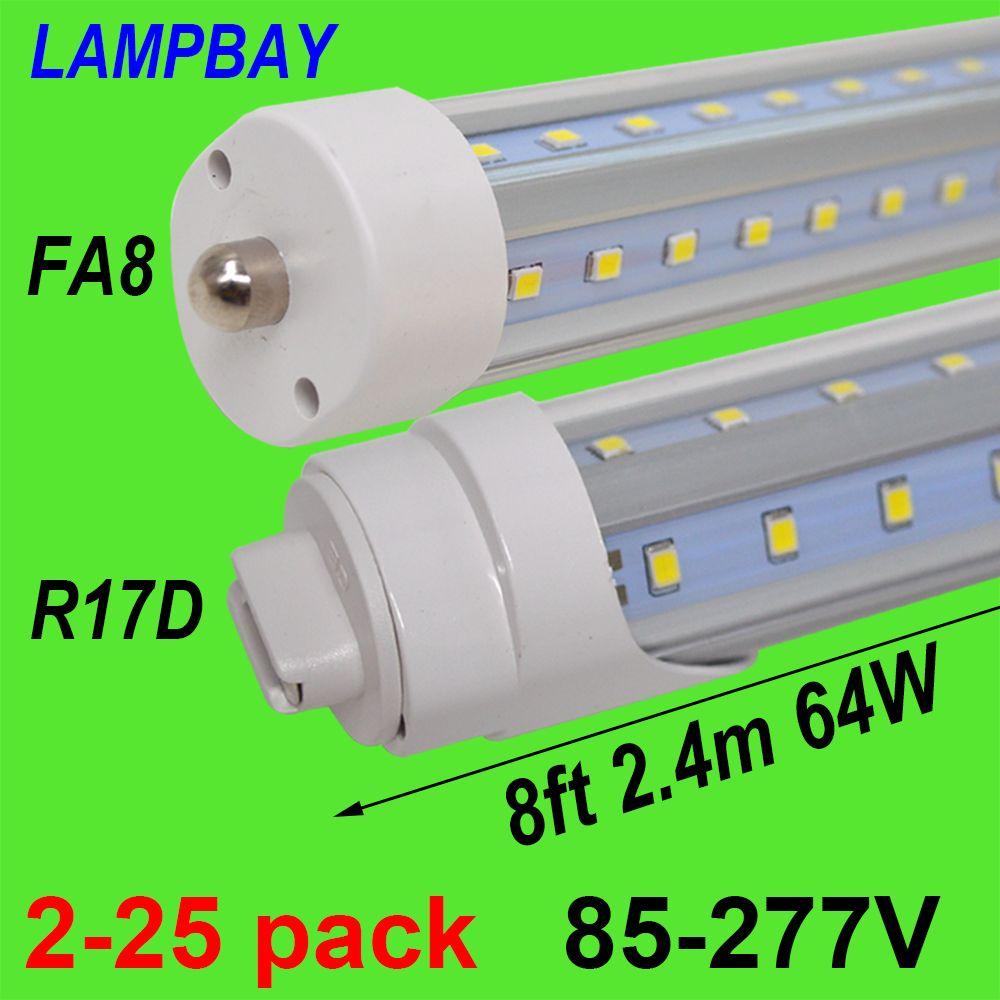 2-25 pcs V En Forme 8ft 2.4 m LED Tube Lumière 48 w 64 w Seule broche FA8 R17D HO F96 T8T10T12 Fluorescent Lampe Super Bright Rénovation Ampoule
