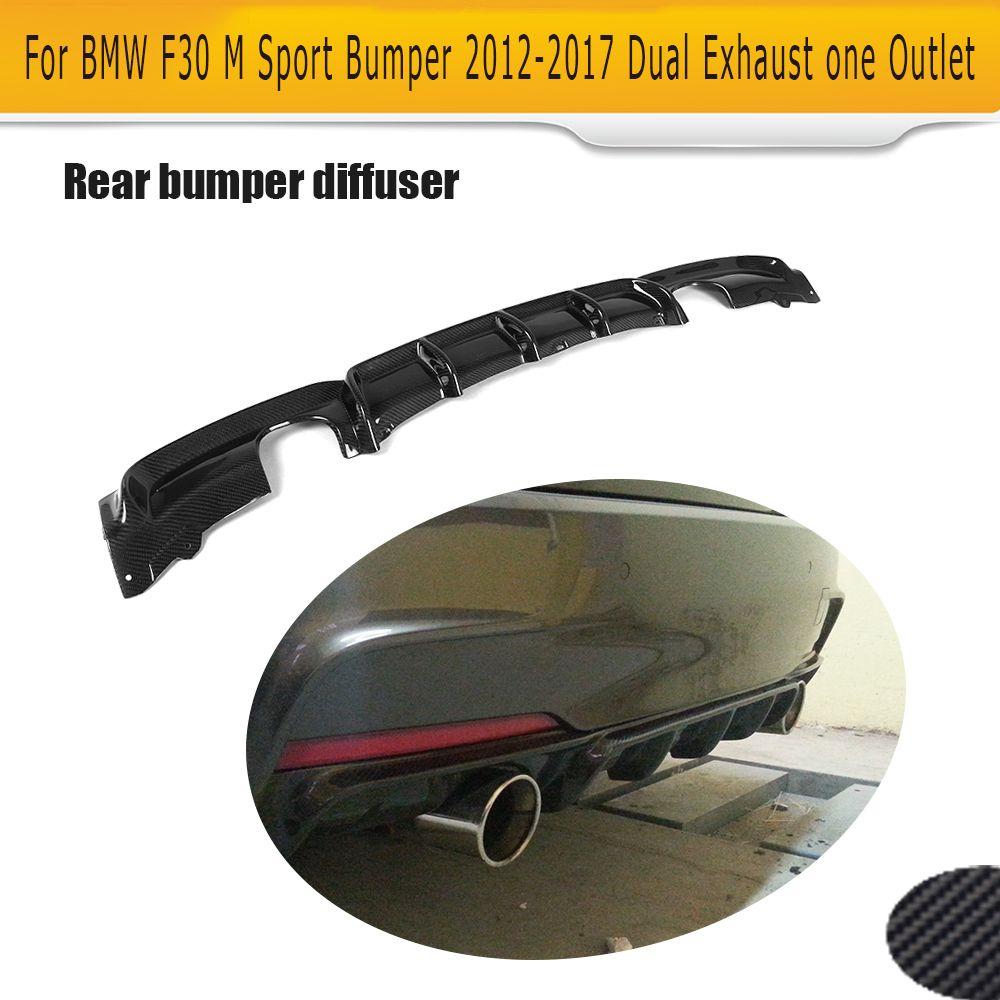 3 Series Carbon Fiber Car Rear Bumper lip spoiler Diffuser for BMW F30 M Sport Bumper 12-17 dual exhaust one outlet Black FRP