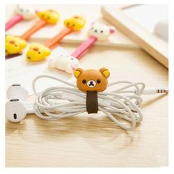 2 PCS Korean Double-Headed Cartoon Animal Cable Winder Easily Bear Chick Headphone Desk Cable Manager