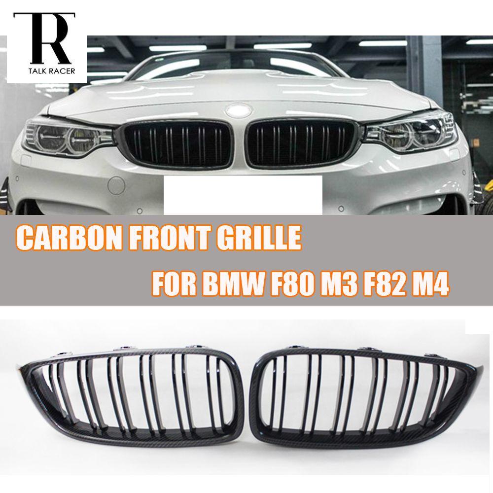 M3 M4 Carbon Fiber 2 Salt Style Front Kidney Grill Grille for BMW F80 M3 F82 F83 M4 & F32 F33 F36 4 Series 2012 - 2017