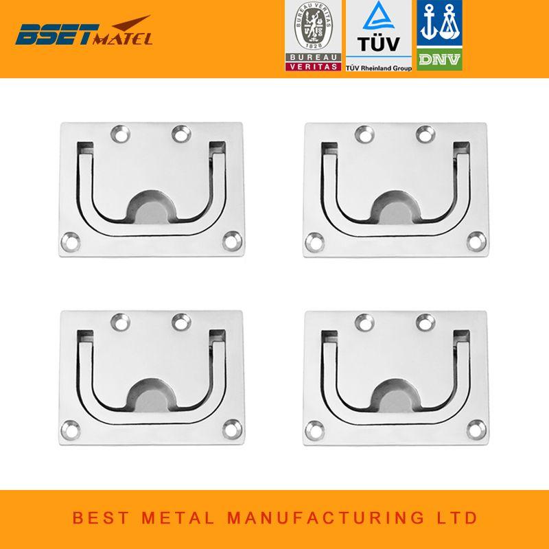 4 pieces/Lot stainless steel 316 Flush lift handle Flush hatch Lift Ring Hatch Pull Handle Locker Cabinet boat marine hardware