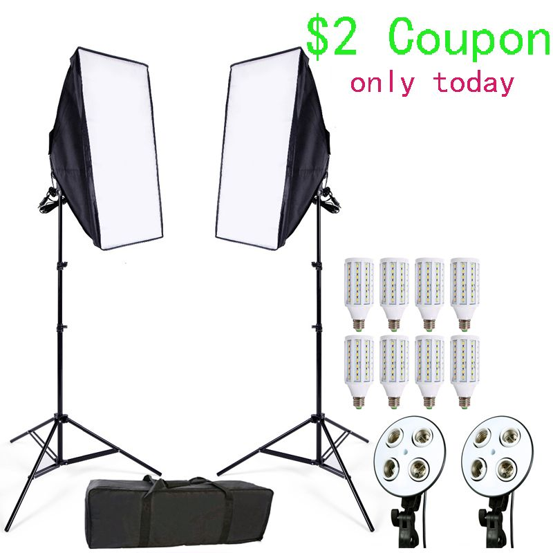 Photo Studio Softbox Kit 8 LED 24w Photographic Lighting Kit Camera & Photo Accessories 2 light stand 2 softbox for Camera Photo