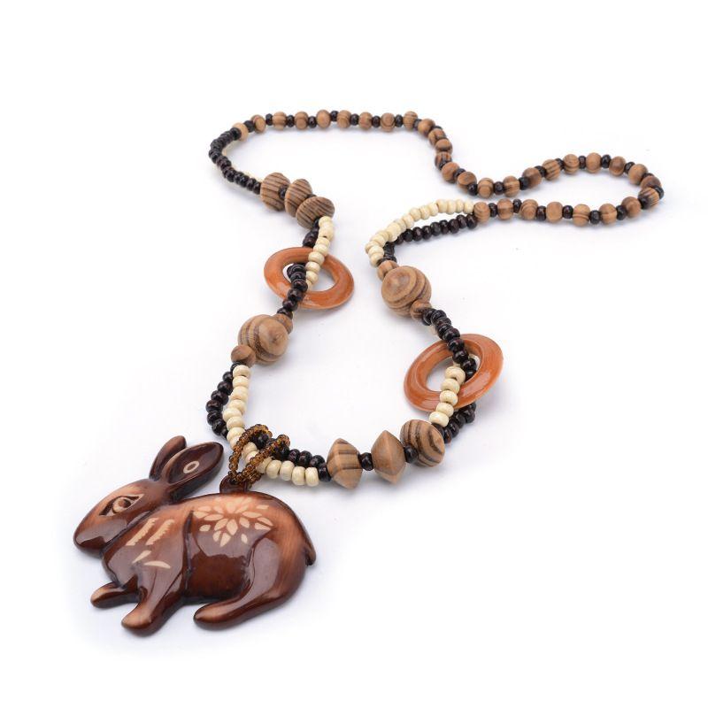 Estilo chino del conejo del zodiaco tallado a mano líneas DIY COLLAR COLGANTE moda joyería para las mujeres regalo de cumpleaños