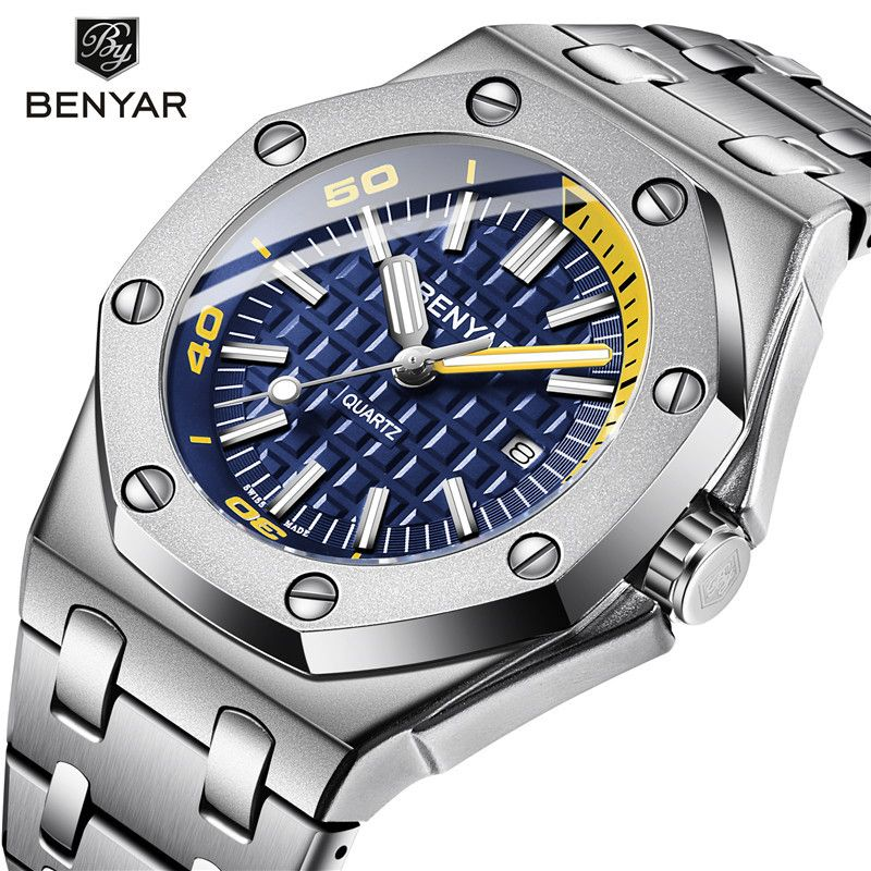 Benyar Men Watch Top Luxury Brand Military Reloj Hombre Steel Quartz Watches Waterproof Sport Wrist watches Casual Montre Homme