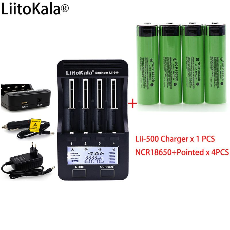 LiitoKala lii500 LCD 3.7V 18650 26650 1.2V AA battery Charger+ 4pcs NCR18650B 3400mAh+Pointed For Flashlight batteries