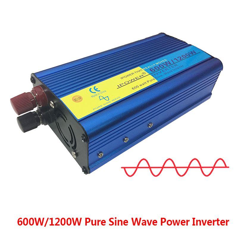 Ipower pure sine wave inverter 12v 220v 600W pure sine wave power inverter <font><b>1pcs</b></font> inverter 220V dc to ac inverter