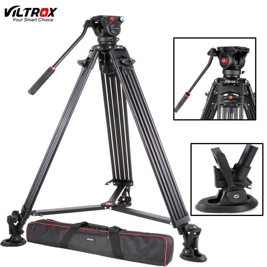Viltrox VX-18M 74 Inch Professional Portable Aluminum Camcorder Camera Tripod+Fluid Pan Head Horsehoe For Video Photo Load 10KG