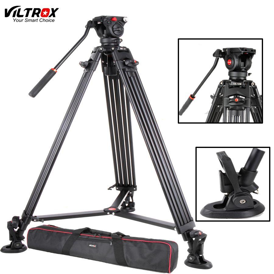 Viltrox VX-18M 74 Inch Professional Portable Aluminum Camcorder Camera Tripod+Fluid Pan Head Horsehoe For Video Photo Load 10KG