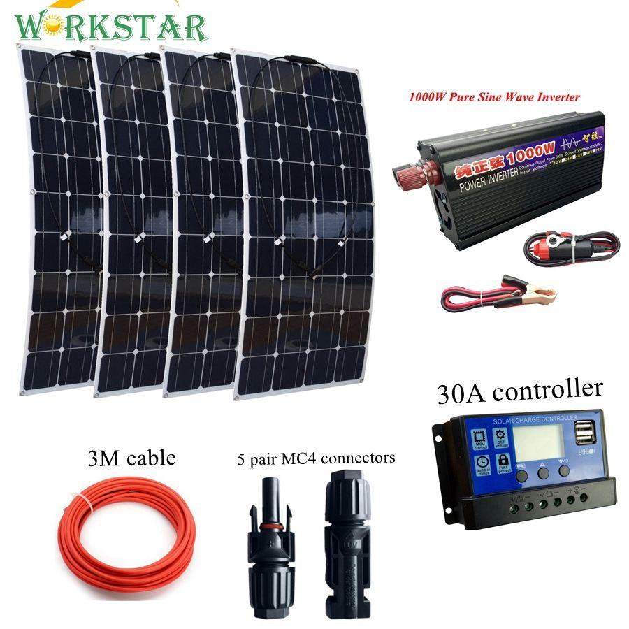 4*100 Watt Flexible Solar Panel mit 1000 watt Wechselrichter und 30A Controller und MC4 Y steckverbinder Grundlegende Solar System für Anfänger