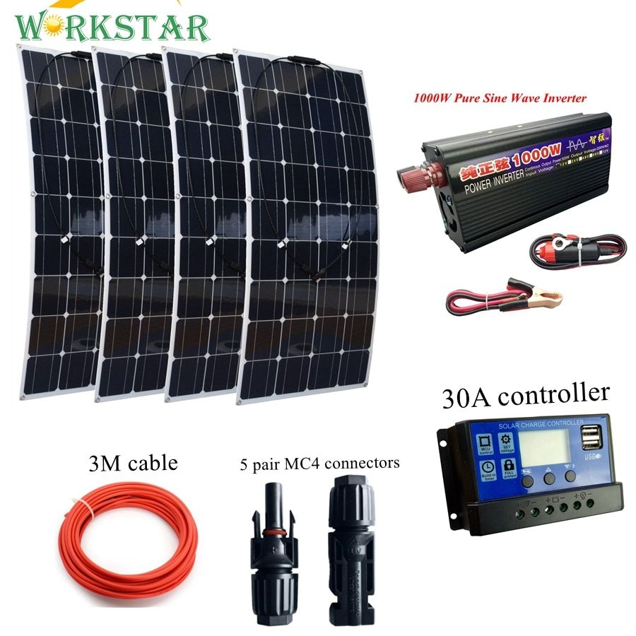 4 * 100W Flexible Solar Panel with 1000w Inverter and 30A Controller and MC4 Y-connectors Basic Solar System for Beginner