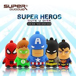 Meilleur vente Super héros usb flash drive 32 GB Batman/Superman Stylo lecteur 4 GB 8 GB 16 GB Memory Stick 64 GB 128 GB cadeau jouet pendrives