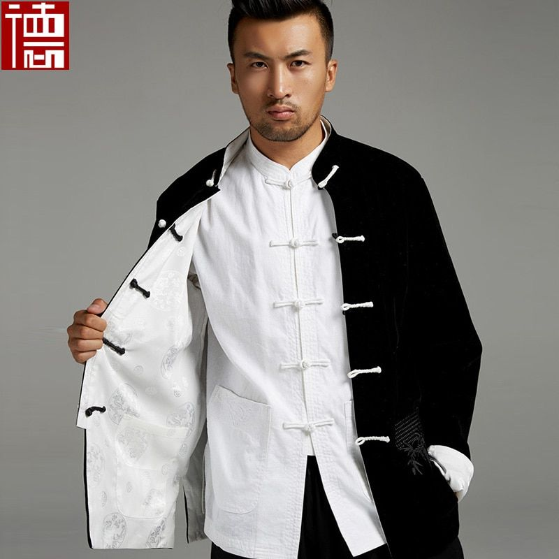 New High Quality Chinese velvet reversible jacket men clothes kung fu uniforms Martial arts Clothing Outerwear Tang suits coat
