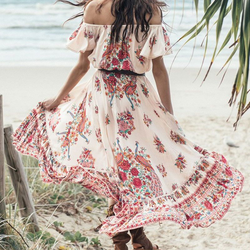 Bohemian Holiday Summer Beach Vestidos 2017 Gypsy Ethnic Women Off The Shoulder Ruffles Floral Boho Hippie Maxi Midi Dress