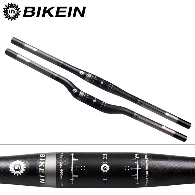 BIKEIN Ultralight 3k Carbon Mountain Bike Flat/Rise Handlebar Cycling MTB Handlebars 31.8mm Matte Black Bicycle parts 135g