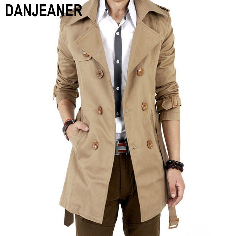 2016 Trench Coat hommes classique Double boutonnage hommes Long manteau Masculino hommes vêtements longs vestes et manteaux Style britannique pardessus