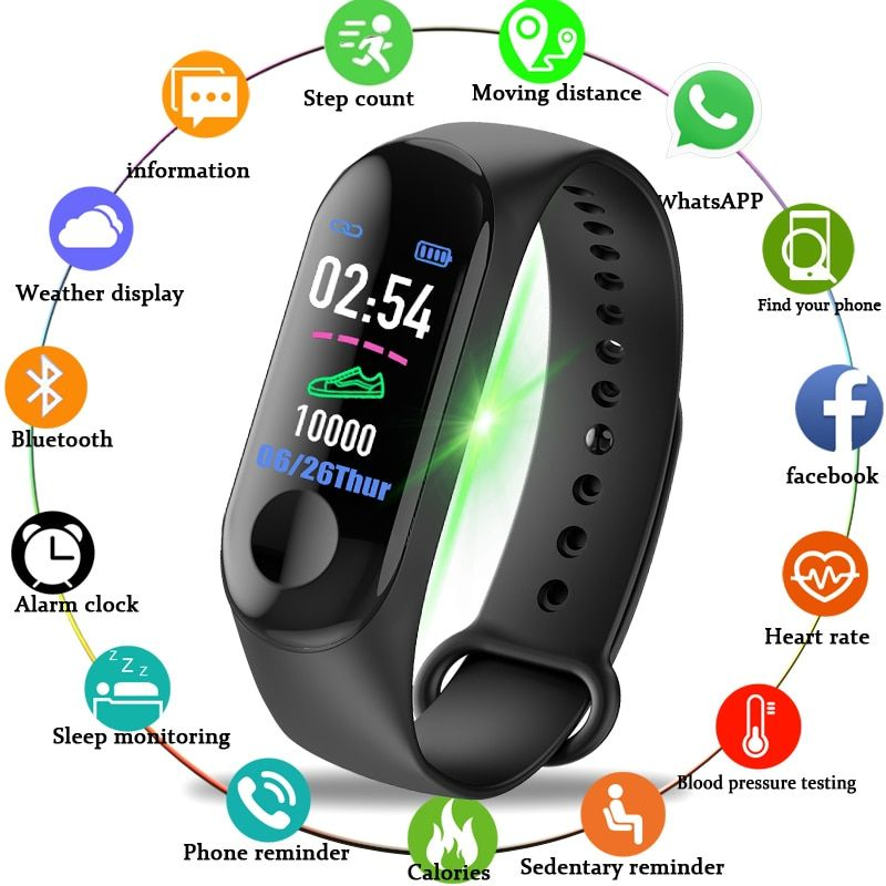 Men Women Smart Watches Sport Fitness Watch Color-screen Waterproof blood pressure Monitor Heart Rate Monitoring Pk mi band 3